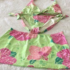 Lilly Pulitzer THREE piece bikini and skirt Size 6